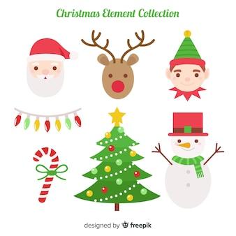 Collection d'éléments de Noël colorés avec un design plat