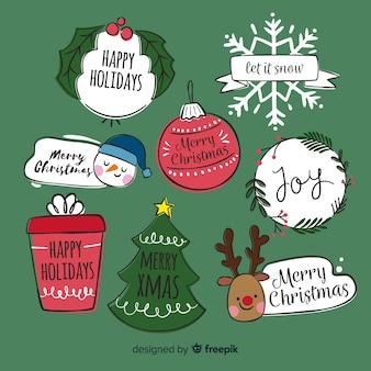 Collection d'éléments de Noël dessinés à la main
