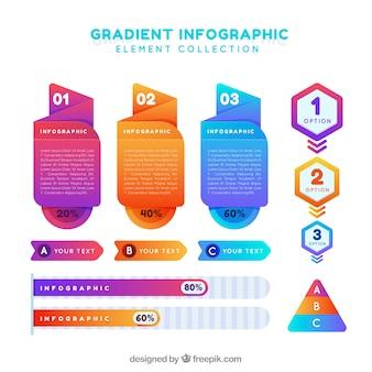 Collection d'éléments infographiques avec des couleurs dégradées