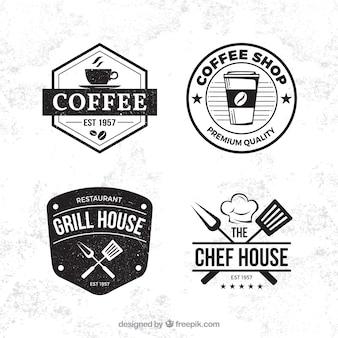 Collection d'étiquettes de café-restaurant avec style vintage