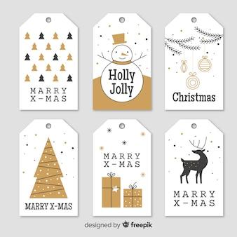 Collection d'étiquettes de Noël Elegante