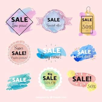 Collection d'étiquettes de vente aquarelle coloré