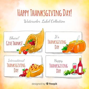Collection d'étiquettes du jour de Thanksgiving à l'aquarelle
