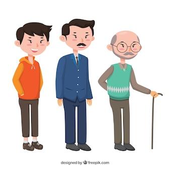 Collection d'hommes asiatiques de différents âges