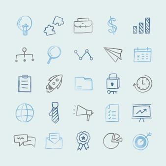 Collection d'icônes d'affaires illustrées