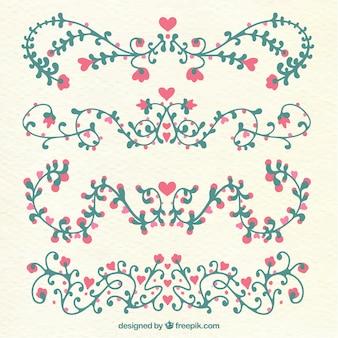 Collection d'ornement de mariage plat avec style floral