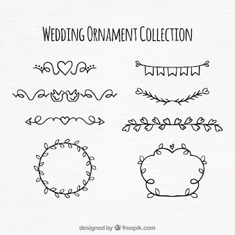 Collection d'ornement mariage dessiné à la main