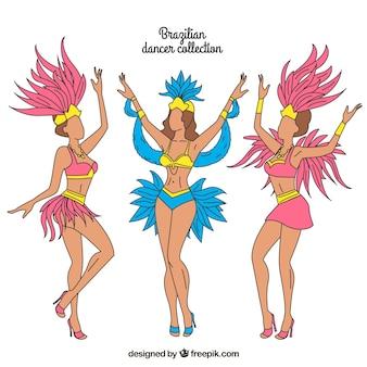 Collection de danseur de carnaval brésilien dessinés à la main