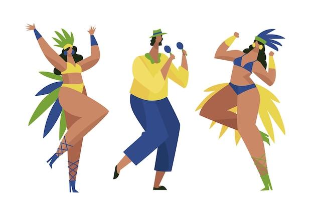 Collection de danseur de carnaval brésilien