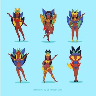 Collection de danseurs de carnaval brésilien dans le style dessiné à la main