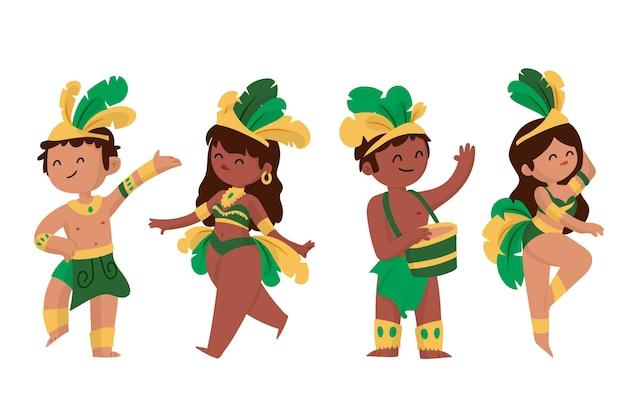 Collection de danseurs de carnaval brésilien