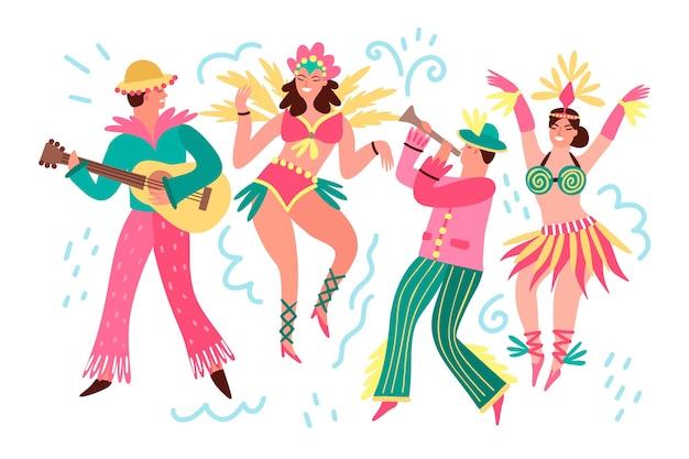 Collection de danseurs de carnaval