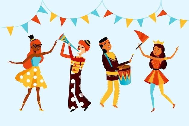 Collection de danseurs et guirlandes de carnaval