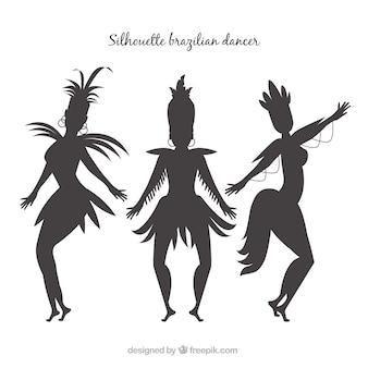 Collection de danseuse brésilienne de silhouette de carnaval