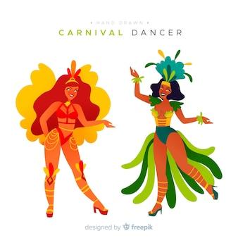 Collection de danseuse de carnaval brésilien dessinée à la main