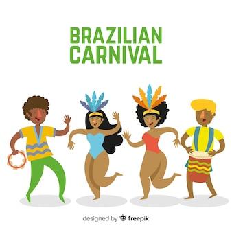 Collection de danseuse de carnaval dessinée à la main