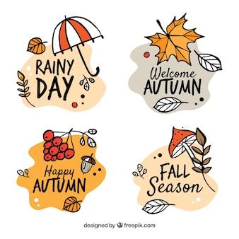 Collection de badges d'automne avec la nature