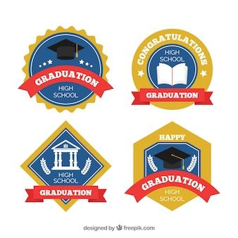 Collection de badges de graduation élégant avec un design plat
