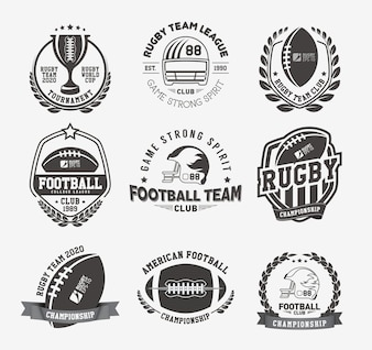 Collection de badges et étiquettes de rugby
