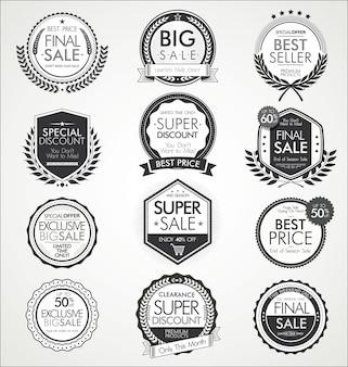 Collection de badges et étiquettes de vente vintage rétro