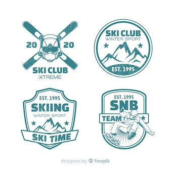 Collection de badges plats de clubs de ski