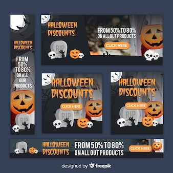 Collection de bannière créative halloween web vente