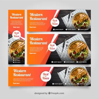 Collection de bannière de restaurant américain avec des photos