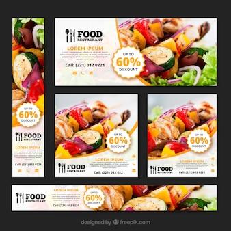 Collection de bannière de restaurant de nourriture saine avec des photos