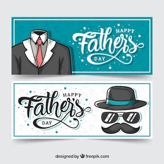 Collection de bannières fête des pères avec costume
