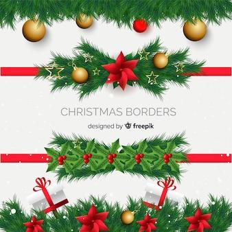 Collection de cadres de Noël réalistes