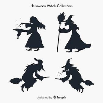 Collection de caractères de sorcière avec style silhouette
