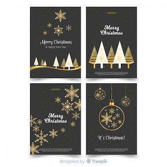 Collection de cartes de Noël plates