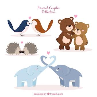 Collection de couple d'animaux de Saint-Valentin dessinés à la main