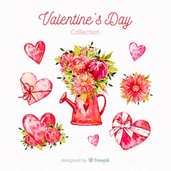 Collection de fleurs aquarelle Saint Valentin