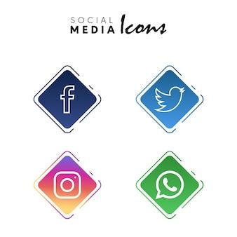 Collection de jeu d'icônes de médias sociaux