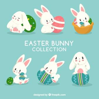 Collection de lapins de Pâques plat