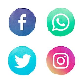Collection de logo de médias sociaux aquarelle