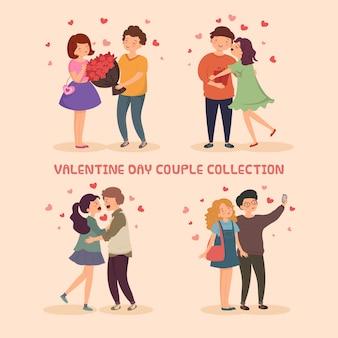 Collection de mignons couples romantiques