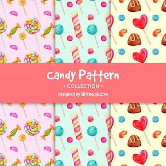 Collection de modèles de bonbons dans un style aquarelle