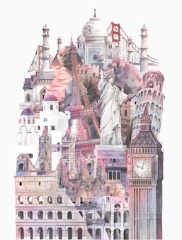 Collection de monuments architecturaux peints à l'aquarelle
