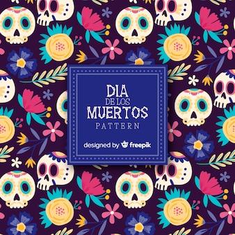 Collection de motifs colorés día de muertos dessinés à la main