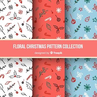 Collection de motifs floraux de Noël