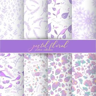 Collection de motifs floraux en pastel.