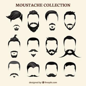 Collection de moustaches plates