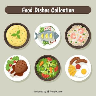 Collection de plats avec de la nourriture différente