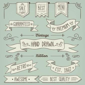 Collection de rubans dessinés à la main