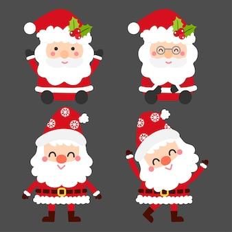 Collection de Santa Claus de dessin animé mignon.