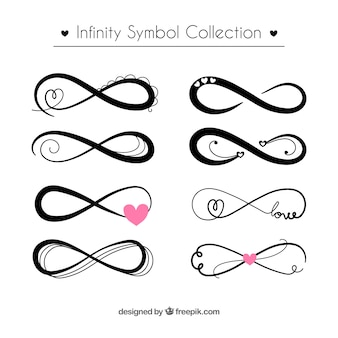 Collection de symboles infini en couleur noire