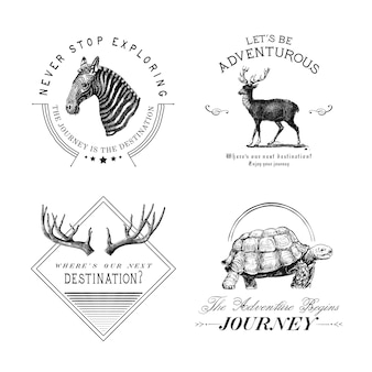 Collection de vecteurs de conception de logo d'aventure