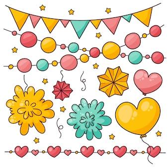 Collection de décoration d'anniversaire colorée